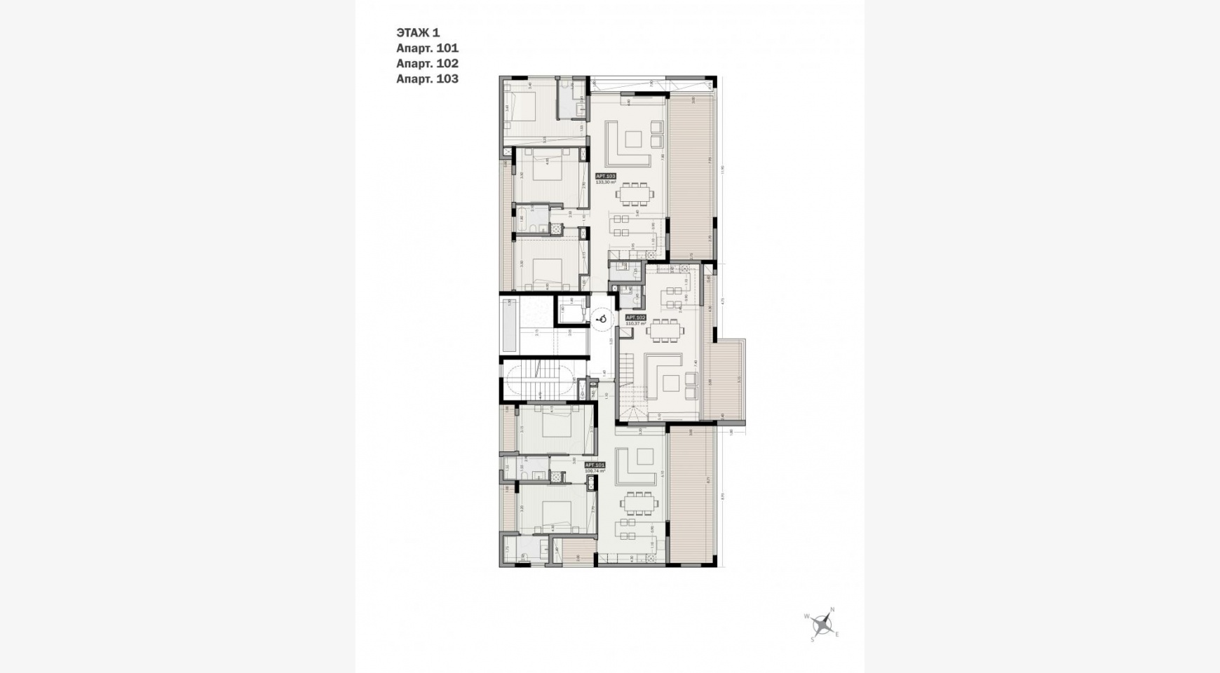 Parkside Residence. Spacious 3 Bedroom Apartment 103 in the Tourist Area  - 20